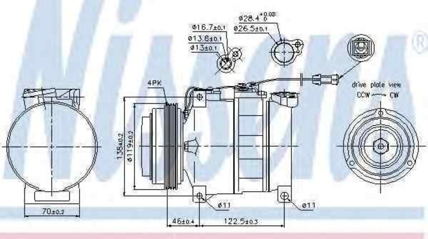 Compresor, climatizare VW PASSAT (3B2) NISSENS 89045