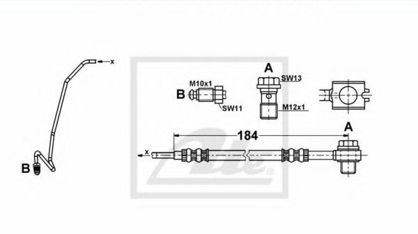 Conducta / cablu frana SKODA SUPERB I (3U4) (2001 - 2008) ATE 24.1253-0030.3 produs NOU