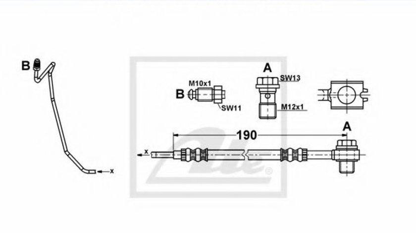 Conducta / cablu frana SKODA SUPERB I (3U4) (2001 - 2008) ATE 24.1253-0040.3 produs NOU