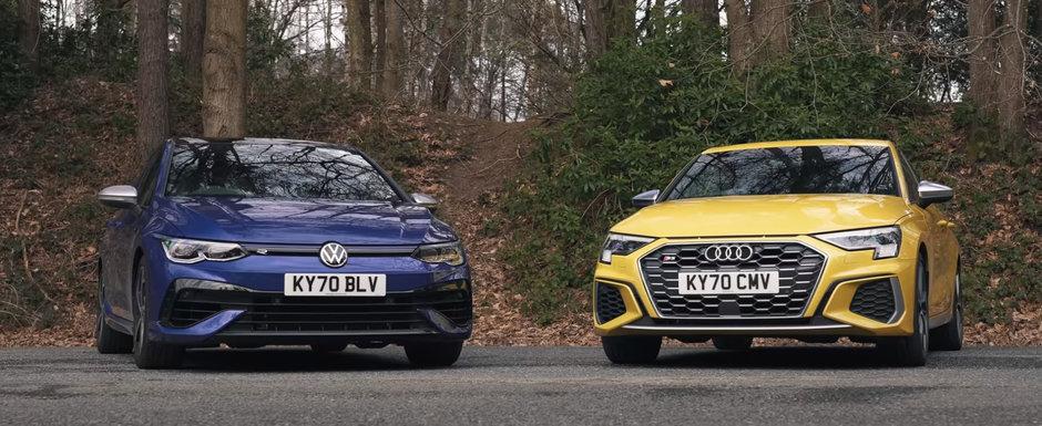 Costa cu 2.640 de euro mai mult, dar merita banii in plus? Test comparativ intre noul Audi S3 si Volkswagen Golf R
