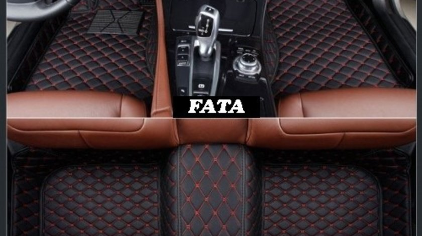 Covorase auto LUX PIELE 5D Audi Q7 2005-2015 ( 5D-028 cusatura rosie ) VistaCar