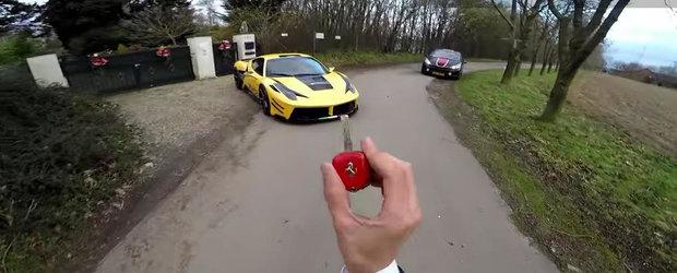 Cu 290 km/h intr-un Ferrari 458 Italia pe autostrada