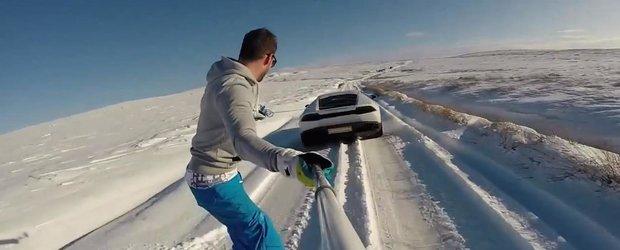 Cu snowboardul tras de un Lamborghini Huracan: asta da distractie!