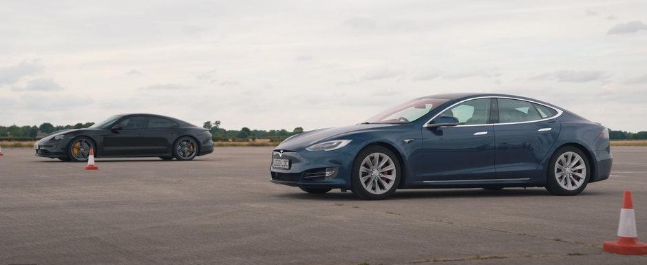 Cursa care pune capat tuturor discutiilor: Porsche Taycan Turbo S vs. cea mai rapida versiune de Tesla Model S