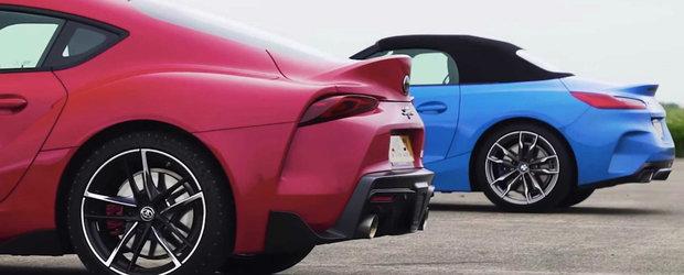 Cursa de acceleratie cu noua Supra si BMW Z4 M40i. Cine trece primul linia de sosire