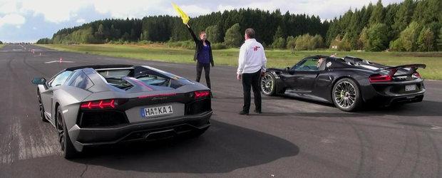 Cursa dintre Aventador si 918 Spyder nu poate avea decat un singur castigator