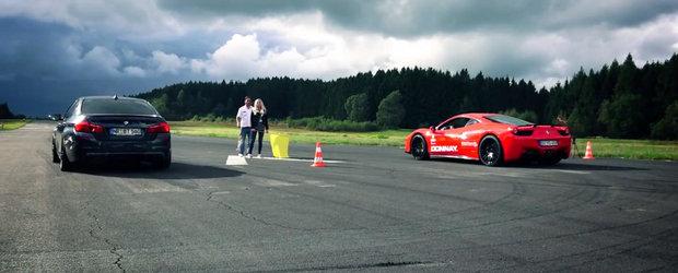 Cursa dintre BMW M5 si Ferrari 458 se incheie cu... - surpriza!, victoria celui dintai