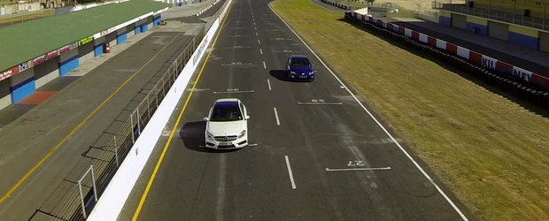 Cursa dintre Mercedes A45 si VW Golf R nu ne aduce nici un fel de rezultat surpriza