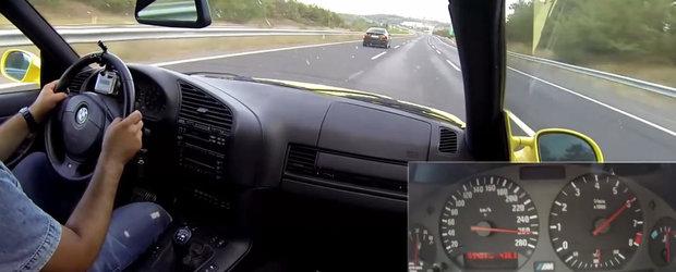Curse ilegale pe autostrada. Intrecere la peste 250 km/h intre doua BMW-uri M3