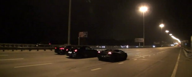 Curse nocturne in Rusia: Nissan GT-R vs. Ferrari California vs. Lamborghini Superleggera