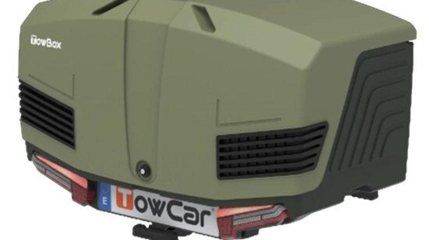 Cutie portbagaj cu Prindere pe Carligul de Remorcare auto Towbox V3 Camper Verde