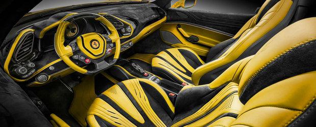 """Daca """"Bumblebee"""" ar fi un Ferrari, cam asa ar arata. Oriunde pui mana dai de piele sau Alcantara"""