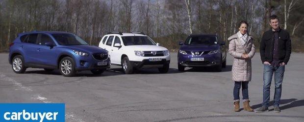 Dacia Duster, Nissan Qashqai sau Mazda CX-5? Comparativ realizat de Carbuyer