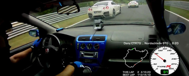 David vs Goliath: Duel la Nurburgring intre o Honda Civic Type-R si un Nissan GT-R