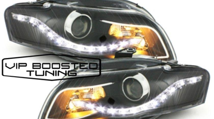 DECTANE Faruri LED DRL Xenon Look compatibil cu AUDI A4 B7 (2004-2008) Negre
