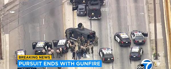 Demonstratie de forta a politiei din California: roboti, drone, SWAT, caini si zeci de politisti pentru o Toyota Prius