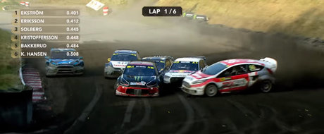 Depasirea lunii vine din Rallycross. Kevin Eriksson a preluat conducerea cursei dupa o miscare de maestru