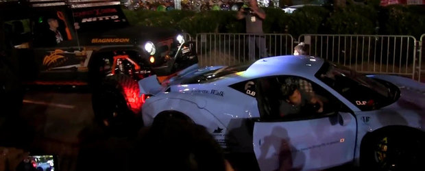 Dezastru la SEMA 2014: Un Ferrari 458 tunat este lovit de un Monster Jeep