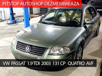 Dezmembrez VW Passat sedan 2003, 1.9 TDI, 131CP, AVF, Quatro, 6 trepte