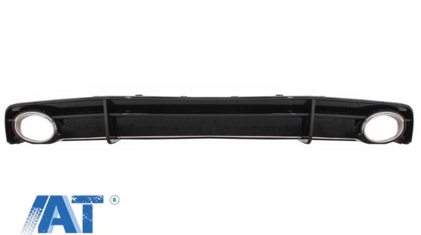 Difuzor Bara Spate Negru si Ornamente Evacuare compatibil cu AUDI A7 4G Facelift (2015+) RS7 Design only S Line