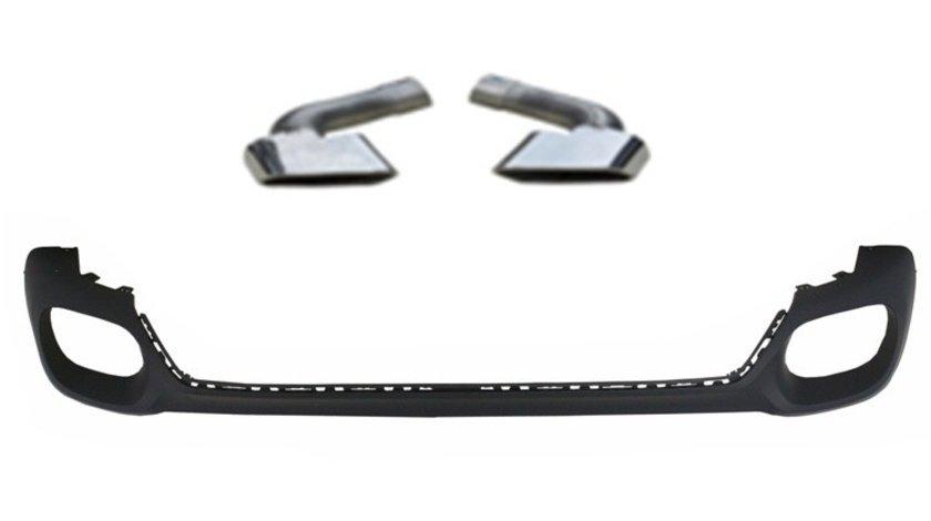 Difuzor bara spate + ornamente toba compatibil BMW X6 F16 2014-> Cod: Ornament bara difuzor+ornament toba 16F VistaCar