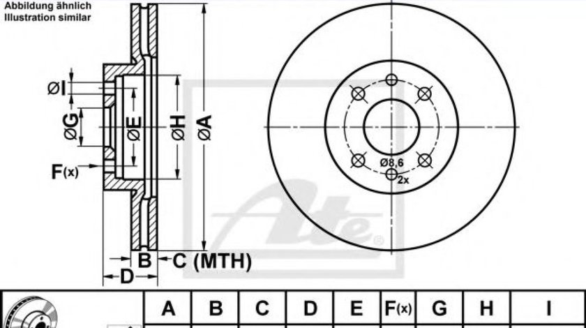 Disc frana ALFA ROMEO 145 (930) (1994 - 2001) ATE 24.0120-0142.1