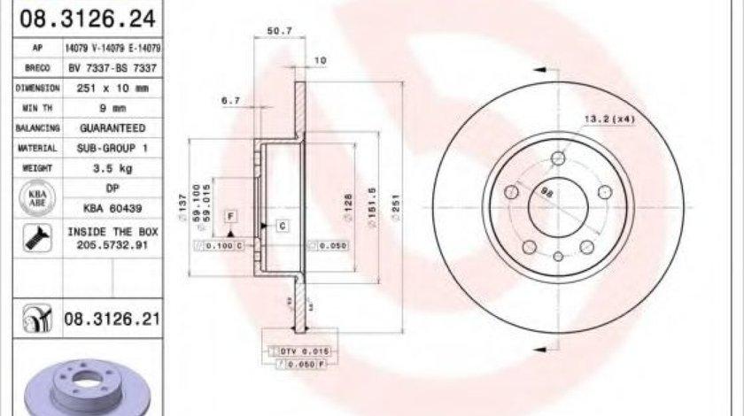 Disc frana ALFA ROMEO 147 (937) (2000 - 2010) BREMBO 08.3126.21 produs NOU