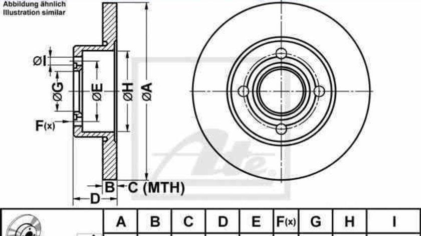 Disc frana AUDI 80 89 89Q 8A B3 ATE 24.0110-0178.1