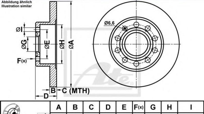 Disc frana AUDI A4 (8E2, B6) (2000 - 2004) ATE 24.0110-0261.1