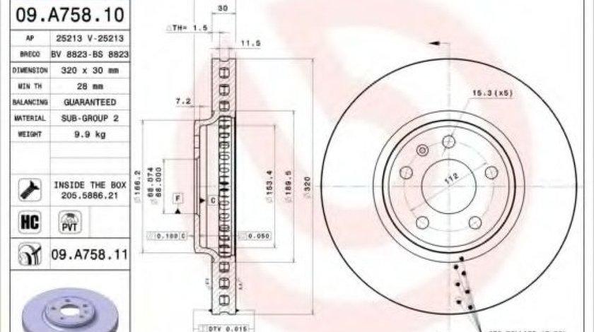 Disc frana AUDI A5 (8T3) (2007 - 2016) BREMBO 09.A758.10 - produs NOU