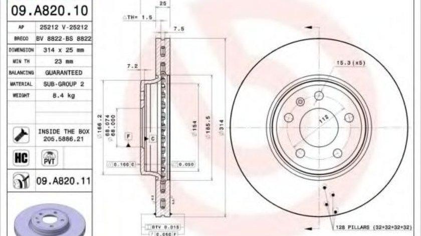 Disc frana AUDI A5 (8T3) (2007 - 2016) BREMBO 09.A820.10 - produs NOU