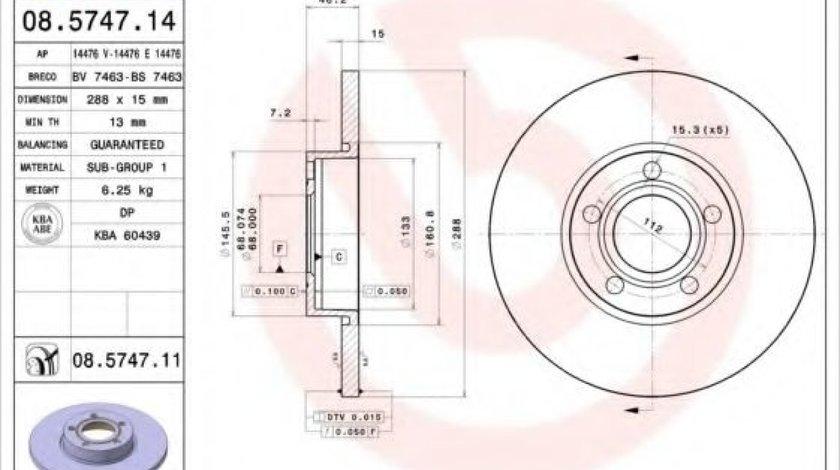 Disc frana AUDI A6 Avant (4A, C4) (1994 - 1997) BREMBO 08.5747.14 piesa NOUA
