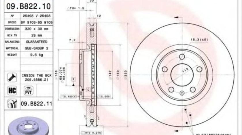 Disc frana AUDI Q5 (8R) (2008 - 2016) BREMBO 09.B822.11 piesa NOUA