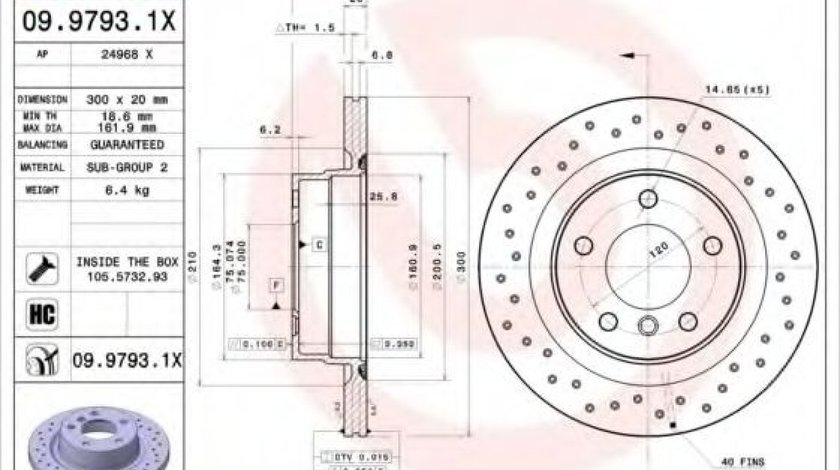 Disc frana BMW Seria 3 Cupe (E92) (2006 - 2013) BREMBO 09.9793.1X - produs NOU