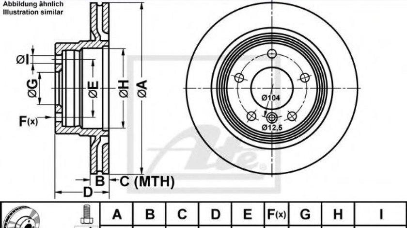 Disc frana BMW Seria 3 (E90) (2005 - 2011) ATE 24.0120-0195.1 piesa NOUA