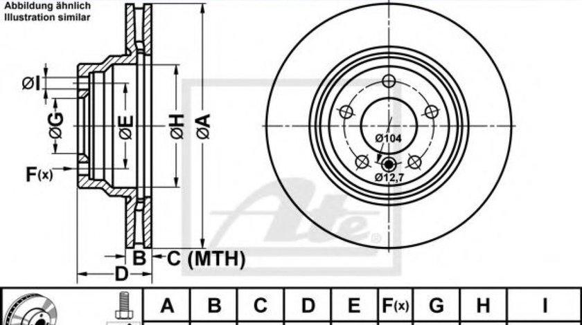 Disc frana BMW Seria 3 (E90) (2005 - 2011) ATE 24.0124-0200.1 piesa NOUA