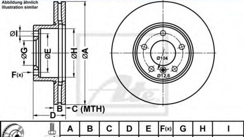 Disc frana BMW Seria 3 (E90) (2005 - 2011) ATE 24.0124-0203.1 piesa NOUA