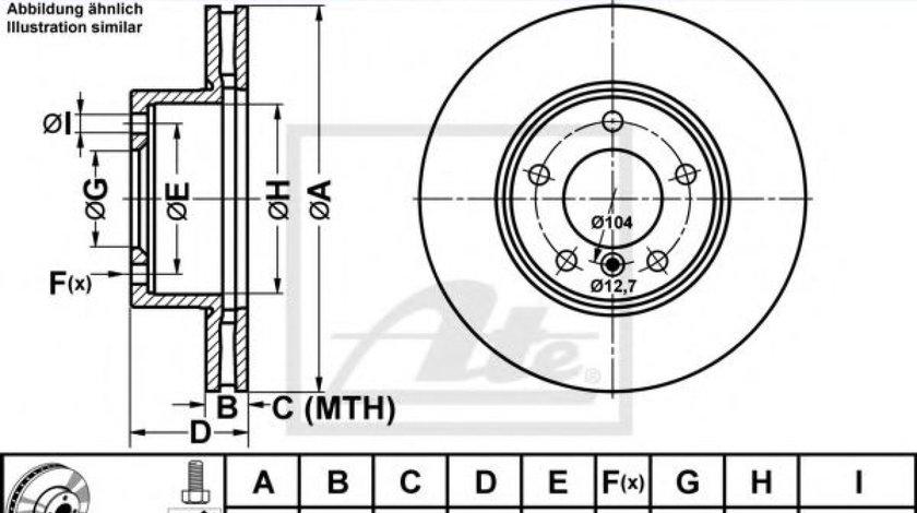 Disc frana BMW Seria 3 (E90) (2005 - 2011) ATE 24.0124-0197.1 piesa NOUA