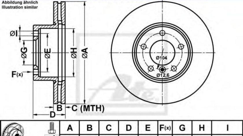 Disc frana BMW Seria 3 (E90) (2005 - 2011) ATE 24.0324-0203.1 piesa NOUA
