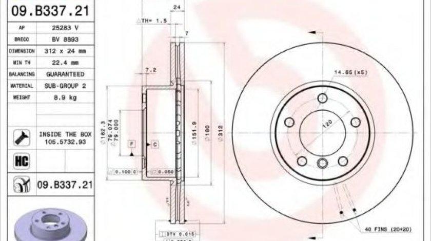 Disc frana BMW Seria 3 (E90) (2005 - 2011) BREMBO 09.B337.21 produs NOU