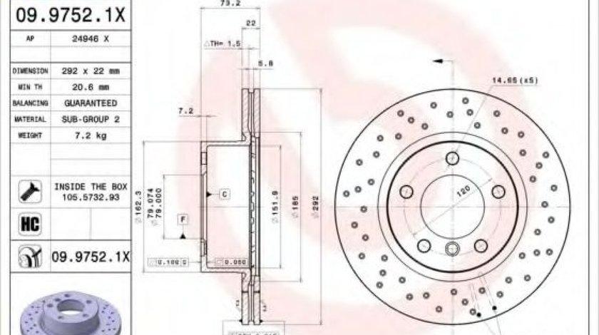 Disc frana BMW Seria 3 (E90) (2005 - 2011) BREMBO 09.9752.1X produs NOU