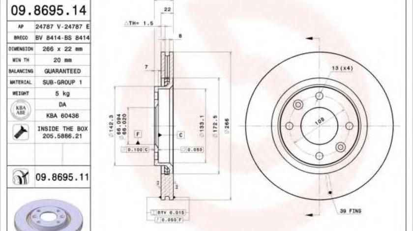 Disc frana CITROEN C5 I (DC) (2001 - 2004) BREMBO 09.8695.11 produs NOU