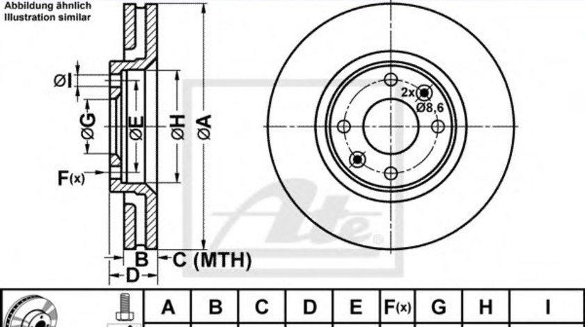 Disc frana CITROEN C5 I Estate (DE) (2001 - 2004) ATE 24.0126-0120.1 produs NOU