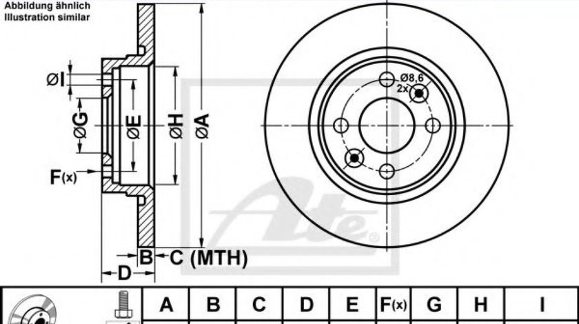 Disc frana DACIA LOGAN II (2012 - 2016) ATE 24.0112-0171.1 produs NOU