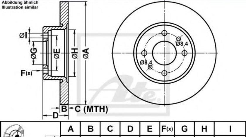 Disc frana FIAT BRAVO II (198) (2006 - 2016) ATE 24.0110-0190.1 produs NOU