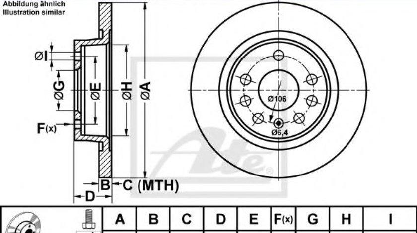 Disc frana FIAT CROMA (194) (2005 - 2016) ATE 24.0112-0157.1 - produs NOU