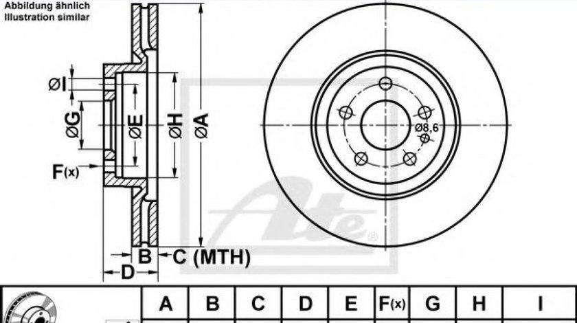 Disc frana FIAT DOBLO Combi (263) (2010 - 2016) ATE 24.0122-0145.1 produs NOU