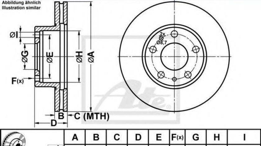 Disc frana FIAT DUCATO caroserie (230L) (1994 - 2002) ATE 24.0124-0127.1 produs NOU