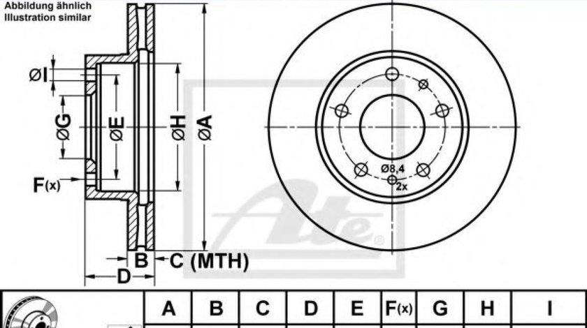 Disc frana FIAT DUCATO platou / sasiu (244) (2002 - 2016) ATE 24.0124-0138.1 - produs NOU