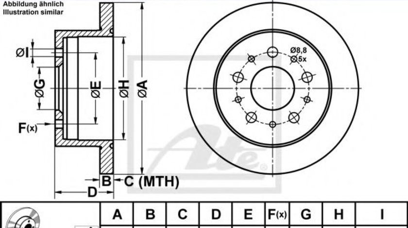 Disc frana FIAT DUCATO platou / sasiu (250, 290) (2006 - 2016) ATE 24.0116-0124.1 produs NOU